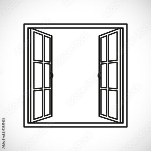 windows-half open window vector - 73957603