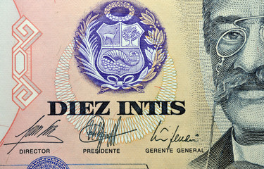 Detailed view of colored banknotes - Peru