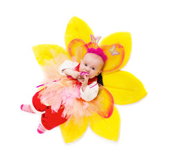 little baby  dressed in butterfly costume isolated on white