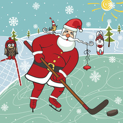 Santa playing ice hockey.Humorous illustrations.Winter sport