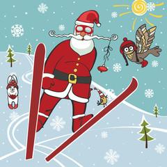 Santa jumping from springboard.Humorous illustrations