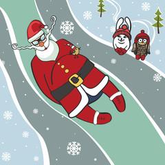 Santa  luge racer.Humorous illustrations.Winter sport