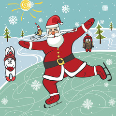Santa  figure skating.Humorous illustrations.Winter sport