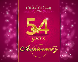 54  year anniversary celebration sparkling card
