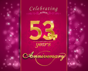 53 year anniversary celebration sparkling card