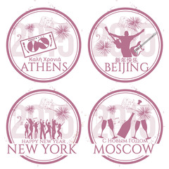 Happy New Year in Athens, Beijing, New York, Moscow