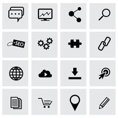 Vector black seo icons set