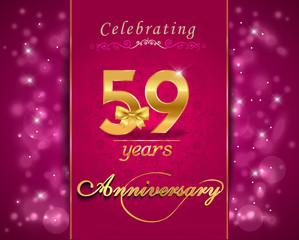 59 year celebration sparkling card, 59th anniversary