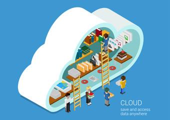 Flat design web cloud services concept: laptops, tablets, phones