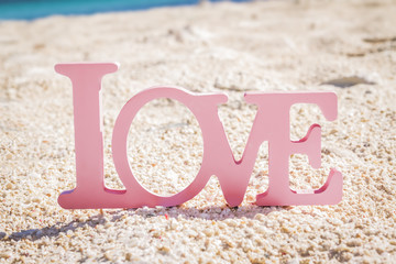 love word on sand beach, wedding concept