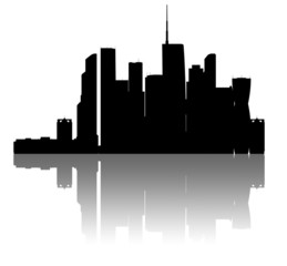 Moskva-city skyline. Detailed silhouette.