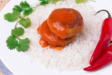 delicious vegetable cutlets with rice