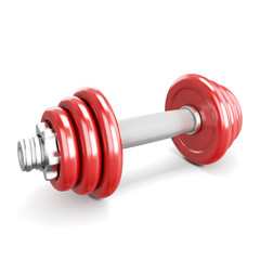 Red dumbbells on white background.