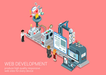 Website creation, web development process flat 3d concept