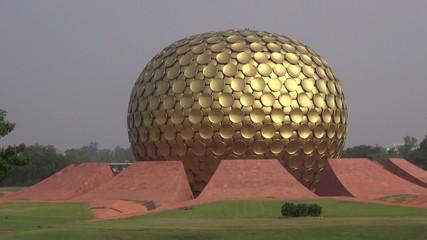 Matrimandir - modern  architecture Golden Temple in Auroville