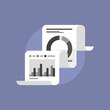 Fax paper with market data flat icon illustration
