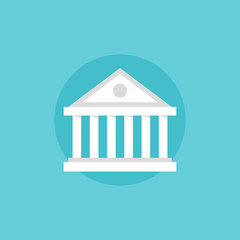 Bank building flat icon illustration