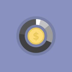 Money graph flat icon illustration