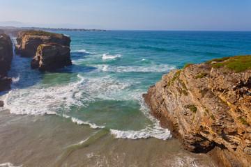 Portugal, waves of the Atlantic Ocean break about coastal rocks