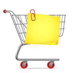 Empty shopping cart with blank shopping list.