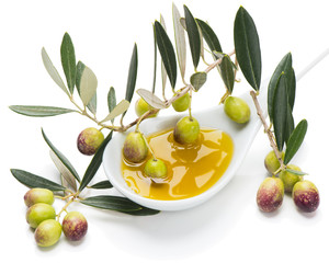 Green olives and extra virgin oliver oil