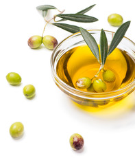 Olive oil and fresh olives.