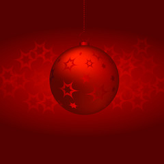 Christmas Ball on red background. Vector illustration