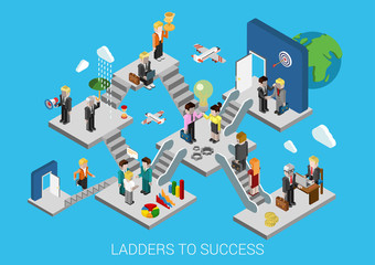 Business start succes flat 3d isometric infographic concept