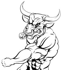 Mean looking bull punching