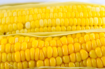 Closeup corn boiled