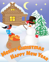 Smiling snowman with gift