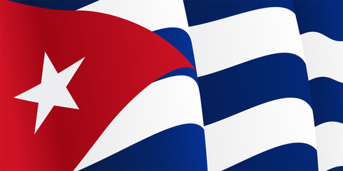 Background with waving Cuban Flag. Vector