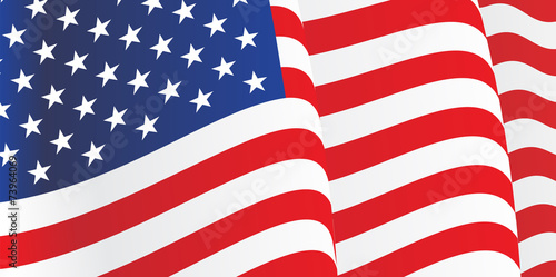 Background with waving American Flag. Vector - 73964069