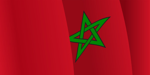 Background with waving Moroccan Flag. Vector