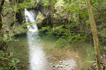 耶馬溪・岩の間を流れる柾木の滝
