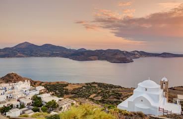 Panagia Thalassitra church at sunset, Milos island, Greece