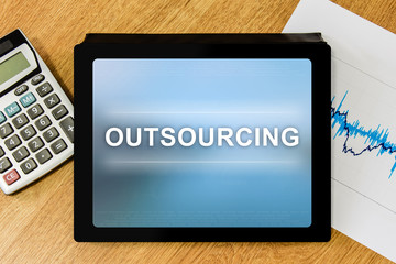 Outsourcing word on digital tablet