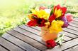 canvas print picture - farbenfrohe Tulpen auf Gartentisch