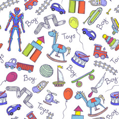 Vector pattern with hand drawn toys for little boys