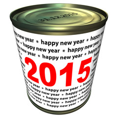 Illustration of can with numbers 2015. Happy new year 2015.