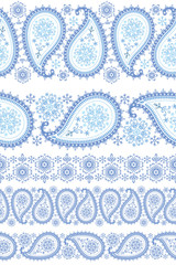 Winter Paisley seamless border set