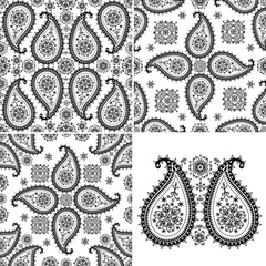 Winter Paisley seamless  pattern set.Silhouette lace