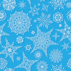 Snowflake seamless pattern, background.Winter lace