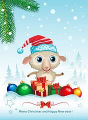 Cute sheep and Merry Christmas greetings card