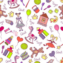 Vector pattern with hand drawn toys for little girls