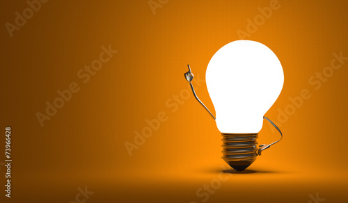 Light bulb character, aha moment, orange background