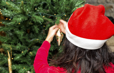 Woman with Christmas hat decorating tree. View from behind