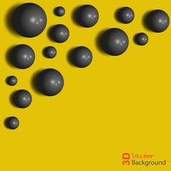 Abstract background, 3D black spheres on the yellow.