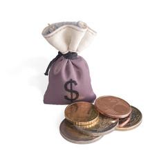 Манеты и мешок денег