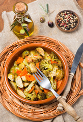Baked mixed vegetables  (brussels sprouts, carrots, broccoli), t